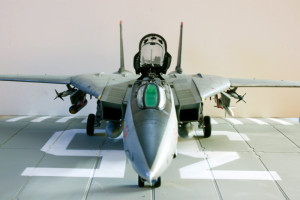 Plastic model airplane kit from Hobby Boss. F-14D