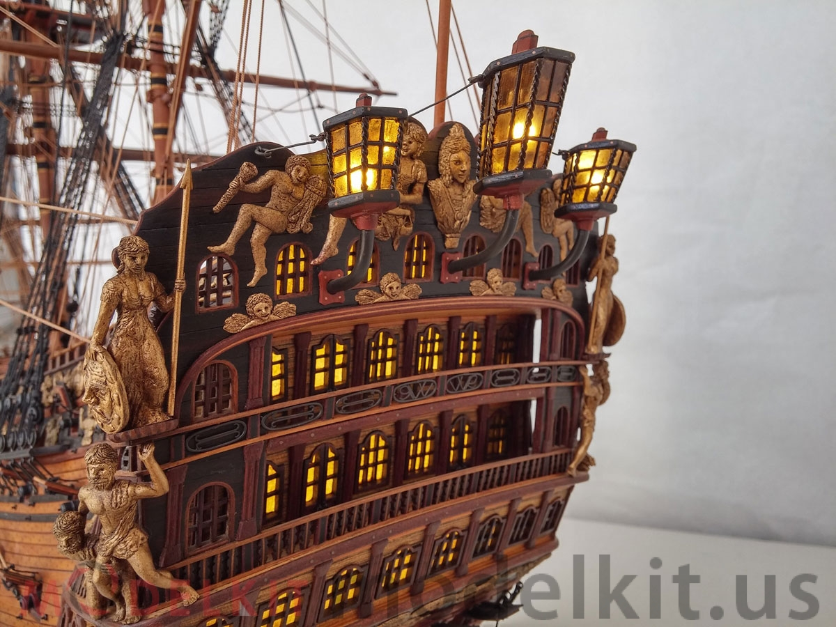 wooden model ship HMS Royal William 1719 (8)